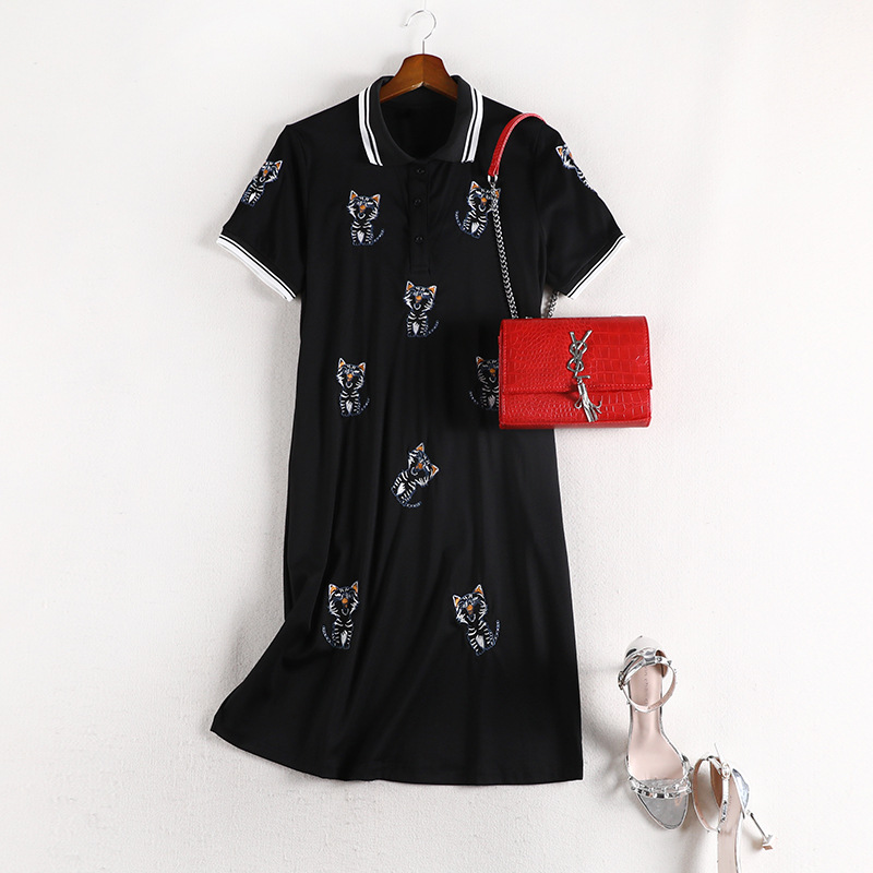 Lan Mu Square Chubby Sister Mm Large Size Dress Polo Dress Fashion Casual Short-sleeve Dress Slimming 10664