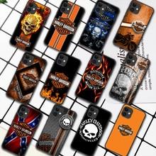 Harley-Davidson Motorcycle Phone Case For iPhone 5 5S SE 2020 6 6S 7 8 Plus 11 12 Mini X XS XR Pro Max black Back Painting Funda
