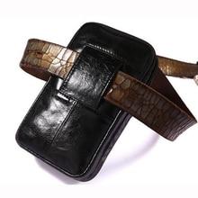 جلد عمودي الرجال الهاتف المحمول حزام حلقة الحافظة ، حزام خصر حقيبة صغيرة السفر الحقيبة ، محفظة جلدية سحاب المحفظة