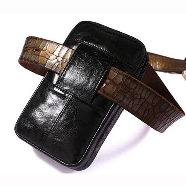 Leder Vertikale Männer Handy Gürtel Schleife Holster Fall, Taille Gürtel Tasche Mini Reisen Beutel, Leder Geldbörse Zipper Wallet