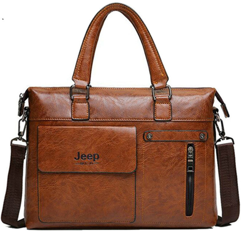 Designer Brands Men Business Briefcase Leather Shoulder Bags For 14 Inch Laptop Bag Big Travel Handbag Bolso Hombre Sac Homme