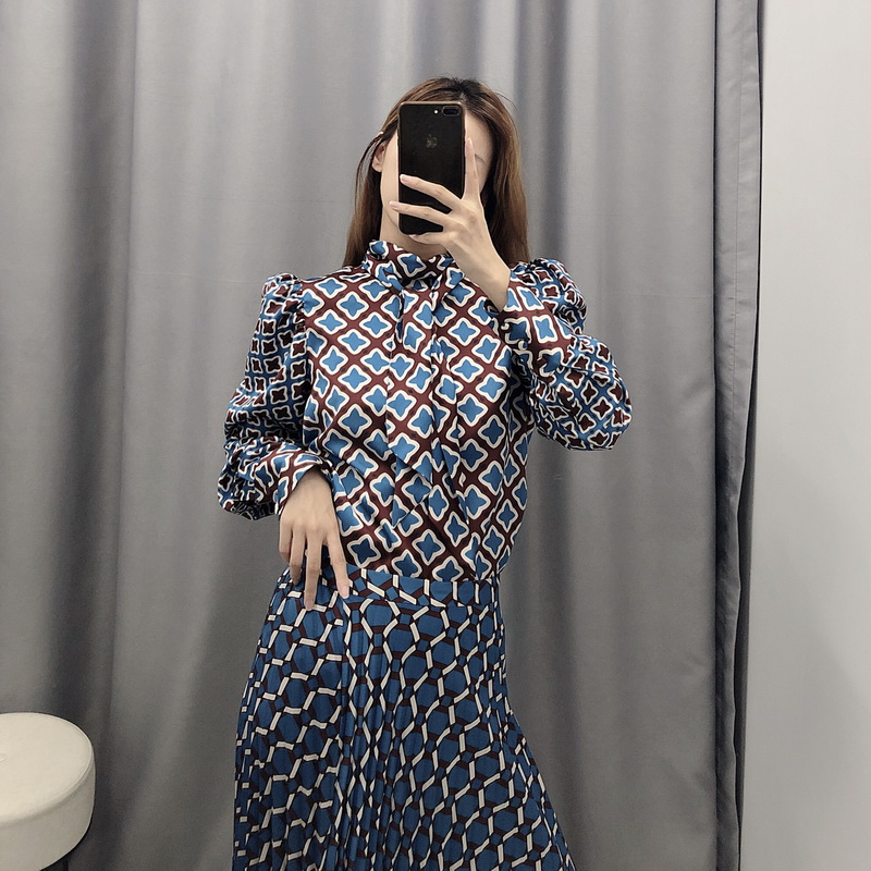 Women Sets Autumn 2019 New Fashion Geometric Prints Long Sleeve Shirt And Skirt Modern Lady 2 Pieces Clothing