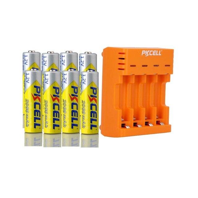 8 ピース/ロットpkcell aa電池ニッケル水素 2A 2000 2600mahの 1.2v単三充電式バッテリーaa/aaaニッケル水素バッテリー充電器
