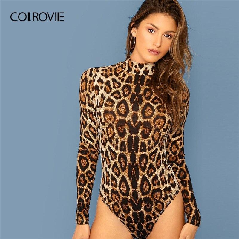 COLROVIE Leopard Print Skinny Bodysuit Women Long Sleeve Bodysuit 2019 New Fall Sexy Stand Collar Casual Elegant Bodysuits