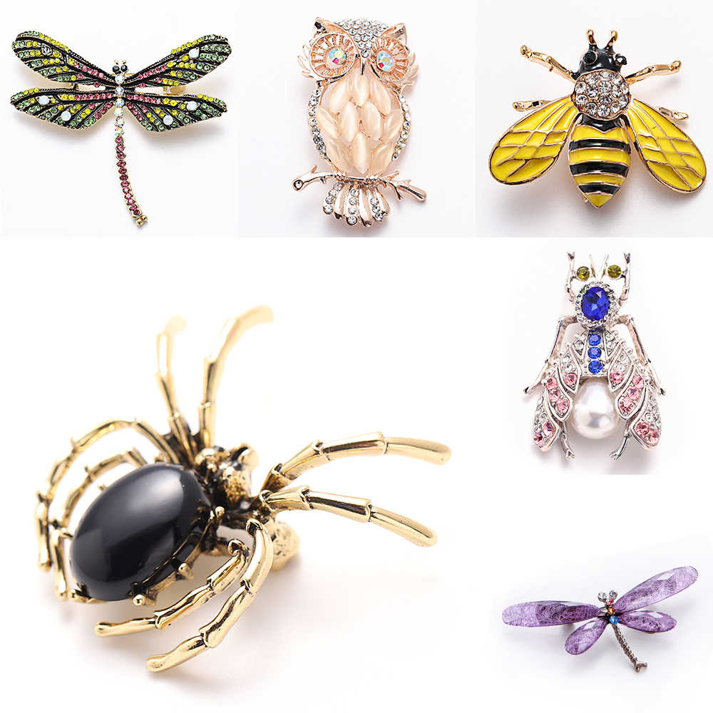 Animal Broche Pins Voor Vrouwen Bling Strass Bee Spider Broches Dragonfly Broches Pin Sieraden Wedding Party Bijoux Beste Cadeau