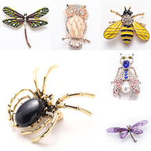 Broches à strass pour femmes, broches en forme d'abeille et d'araignée, libellule, Bijoux de fête de mariage, meilleur cadeau