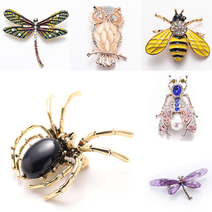 Animal Brooch Pins For Women Bling Rhinestone Bee Spider Brooches Dragonfly Brooches Pin Jewelry Wedding Party Bijoux Best Gift