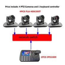 Câmera de vídeo atribuição onvif, 1080p 60fps ptz 20x zoom ip/dvi/sdi câmera de transmissão de vídeo e 5 polegadas lcd controle de teclado
