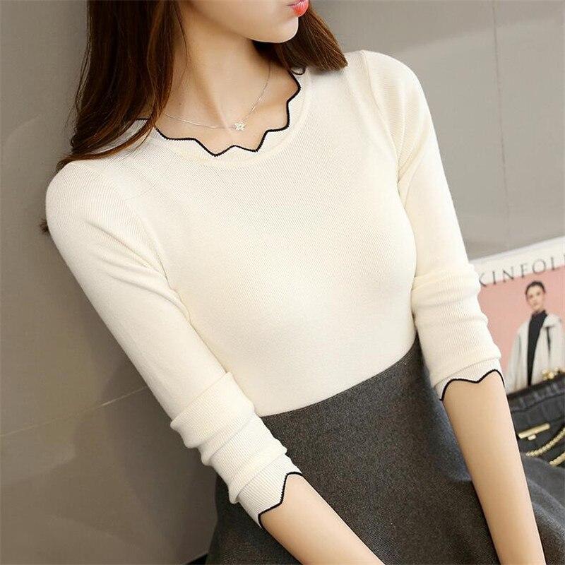 2019 Autumn New Women's Sweaters Women's Head Set Inside Long-sleeved Sweater Slim Bottoming Shirt Was Thin
