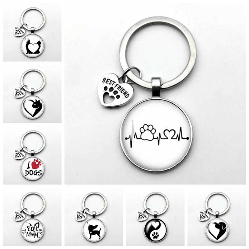 2020 New Popular New Puppy Kitten Playing Key Ring Love Pet Cat and Dog BEST FRIEND Pendant Fashion Keychain Birthday Present image