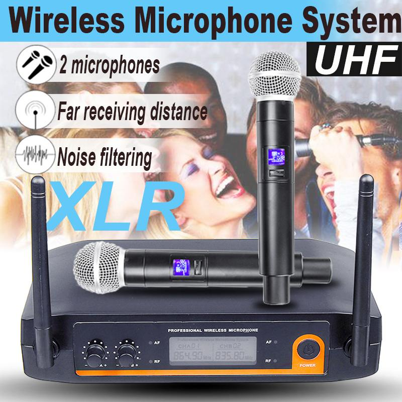LEORY XLR UHF Wireless Microphone System Dual Channel Cordless Handheld Mic Kraoke Speech Party Supplies Cardioid Microphone