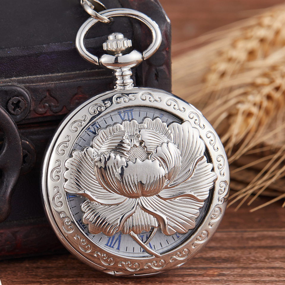 Hollow Flower Engrave Mechanical Pocket Watch Elegant Flip Case Fob Chain Clock Hand-Winding Vintage Watches For Men Women Gifts