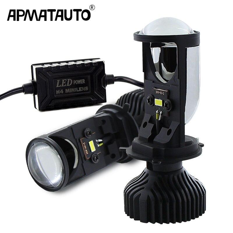 2pcs H4 9003 LED Mini Bi-LED Lente Do Projetor Do Farol H4 70W 5500K LED Farol Retrofit estilo do carro de Alta Baixo Luzes 12v 24v