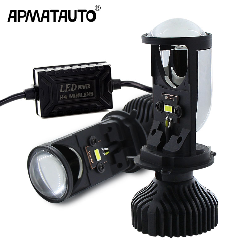 2pcs H4 9003 LED Mini Bi-LED Projector Headlight Lens 70W 5500K LED H4 Headlamp Retrofit Car Styling High Low Lights 12v 24v