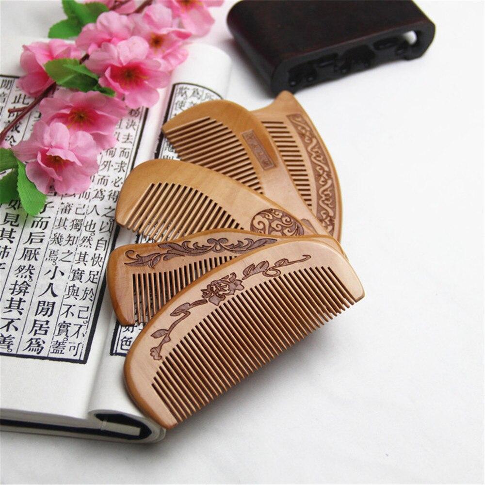 Natural Peach Wood Comb For Detangling Beard Head Massage Close Teeth Anti-static Hairbrush Hair Care Tools Suitable Travel