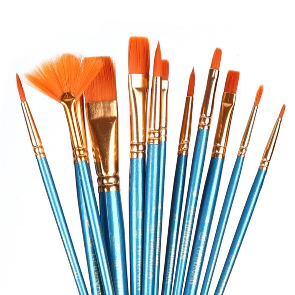 12PCS Paint Brushes Set Nylon Hair Painting Brush Short Rod Oil Acrylic Brush Watercolor Pen Professional Art Supplies
