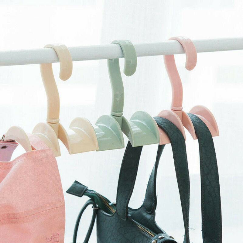 1Pc Portable Rotatable Hanging Hooks Organizer Clothes Bags Storage Rack Holder Home Storage Tools