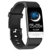 T1 ECG الصحة ساعة ذكية لعرض معدل الضغط ميزان الحرارة قياس درجة الحرارة تشغيل المسار المسار تحكم بالموسيقى الرياضة Smartwatch الرجال النساء