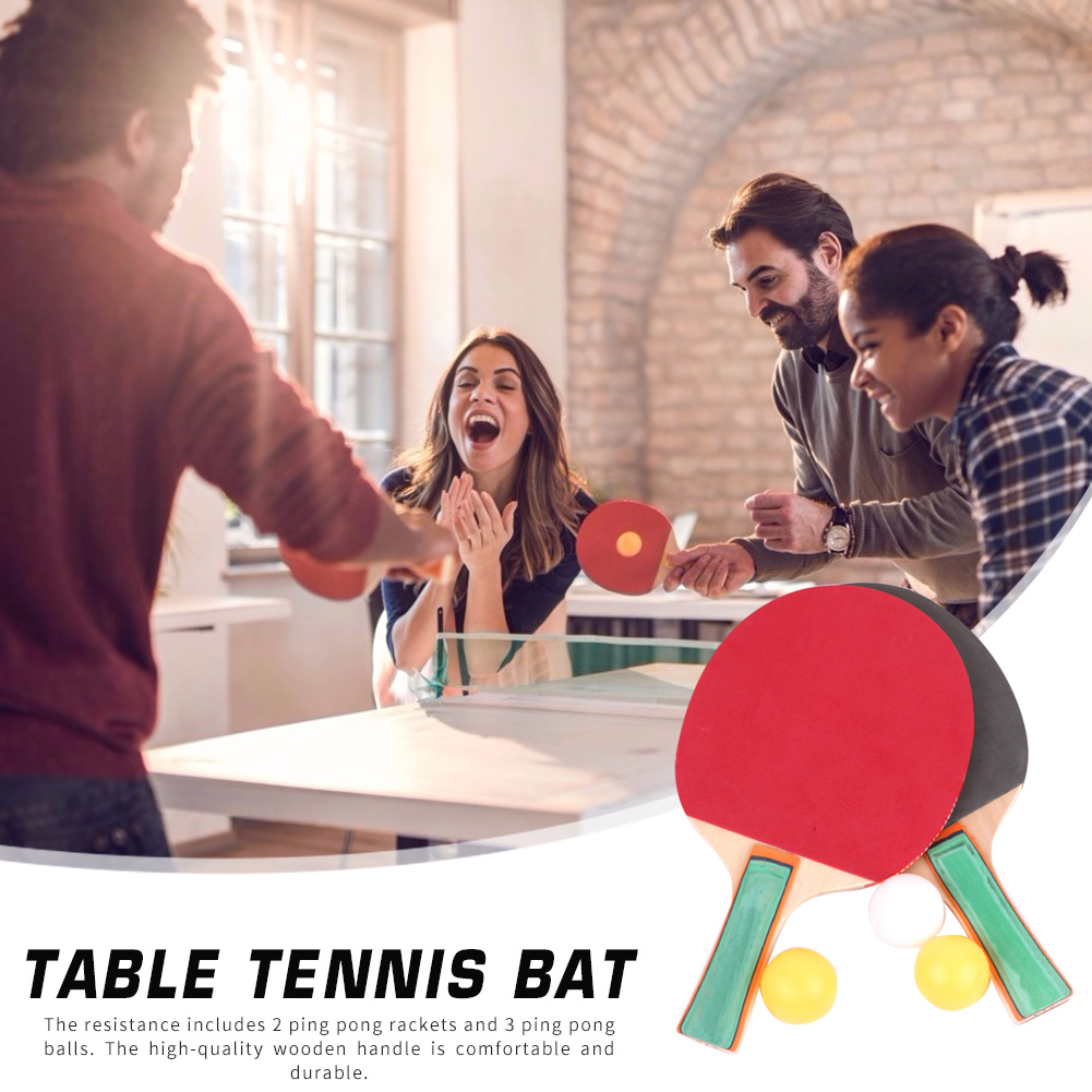 1 Pair Table Universal Tennis Racket Ping Pong Paddle Bat With 3 Training Balls Set For Beginner Kids Adults Students