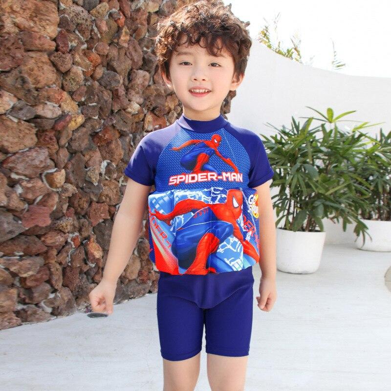 New Style South Korea Children Floating Bathing Suit Male Baby Cartoon Spider-Man Jumpsuit Medium-small BOY'S Buoyancy Swimwear