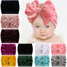 New Velvet Baby Headband Turban Big Bowknot Baby Girl Headband For Newborn Bow Hair Band Children Kid Head Wrap Hair Accessories