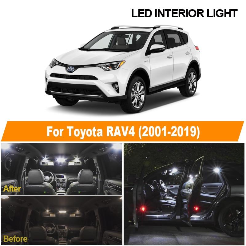Белые автомобильные лампы без ошибок, комплект светодиодного интерьера для Toyota RAV4 2001-2013 2014 2015 2016 2017 2018 2019, купольная Лицензионная лампа для к...