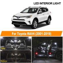Branco carro livre de erros lâmpadas led kit de luz interior para toyota rav4 2001-2013 2014 2015 2016 2017 2018 2019 mapa lâmpada de licença cúpula