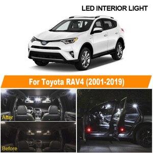 White Car Error Free Bulbs LED Interior Light Kit For Toyota RAV4 2001-2013 2014 2015 2016 2017 2018 2019 Map Dome License Lamp