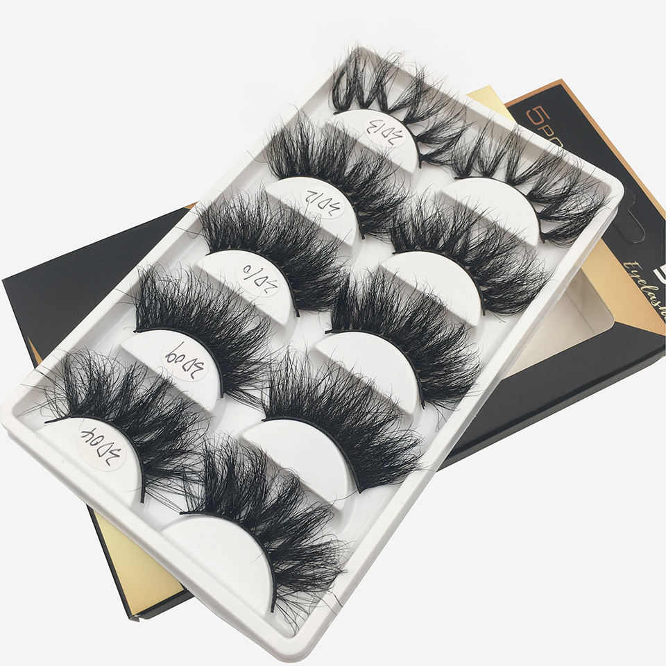 5 Pairs Mix Fluffy 25mm Mink Eyelashes Dramatic Long Messy Natural Lashes Handmade 3d Eyelashes Makeup Fake Lashes