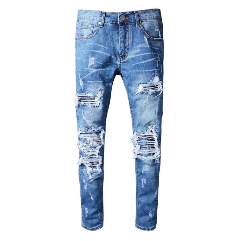 2020 New Men's Blue Pleated Patchwork Hole Ripped Biker Jeans For Motorcycle Casual Slim Skinny Distressed Stretch Denim Pants