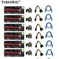 6pcs TISHRIC PCIE PCI-E Riser 009S card GPU PCI E X16 PCI Express 6Pin to SATA 1X 16X USB3.0 Extender LED For Mining ETH BTC