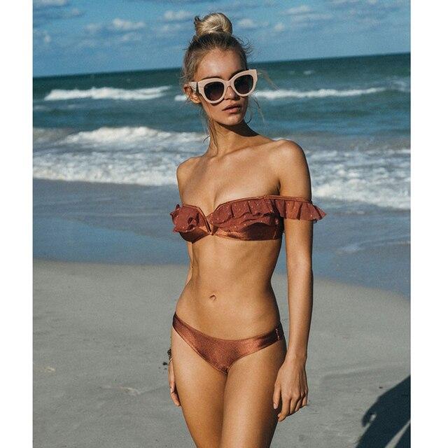 Sexy Sommer Frauen Bikini Rüschen Push Up