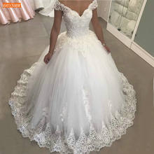 Graceful African White Wedding Dresses Off Shoulder Appliqued Lace Tulle Ball Gown Bridal Dress Long 2020 Arabian Wedding Gowns(China)