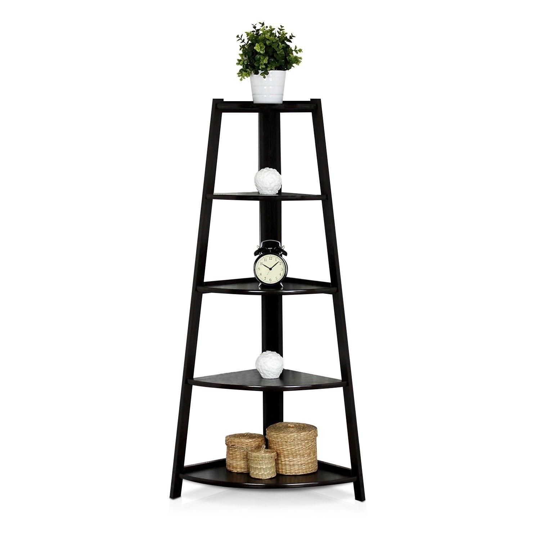 5 niveles estante de esquina soporte de madera de almacenamiento muebles para el hogar negro TB venta - 4