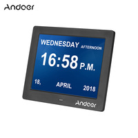 Andoer 8 Digital Picture Frame LED Screen Simple Clock Photo Video Digital Photo Frame for Elder People With Remote Control