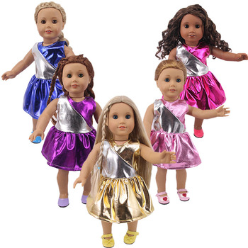 Baby Clothes,Five Shiny Dresses, Suitable For 43cm Bald Dolls And 18-inch American Dolls, Best Gifts For Children image