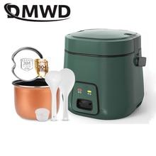 DMWD 1.2L مصغرة وعاء طبخ أرز كهربائي 2 طبقات التدفئة قدر الغذاء البخاري متعددة الوظائف وجبة الطبخ وعاء 1 2 الناس علب الاغذية الاتحاد الأوروبي الولايات المتحدة التوصيل