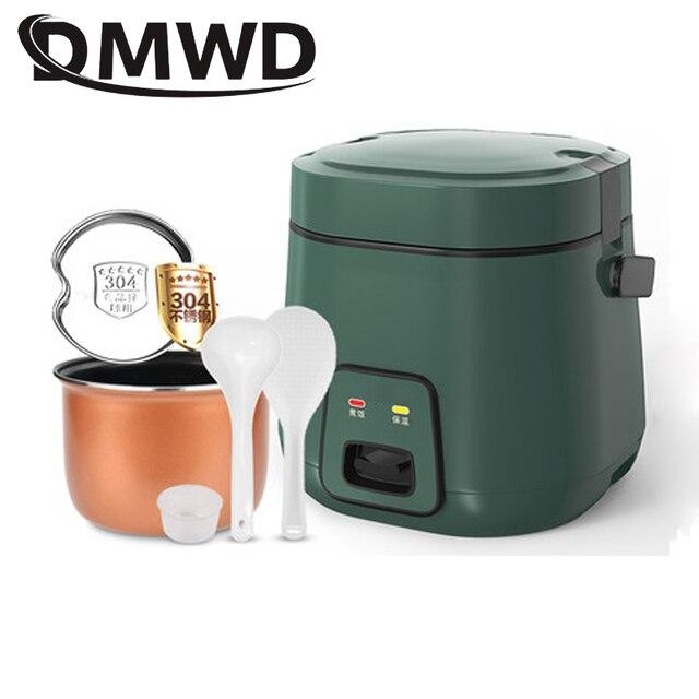 Dmwd 1.2L Mini Elektrische Rijstkoker 2 Lagen Verwarming Voedsel Stoomboot Multifunctionele Maaltijd Koken Pot 1 2 Mensen Lunch doos Eu Us Plug