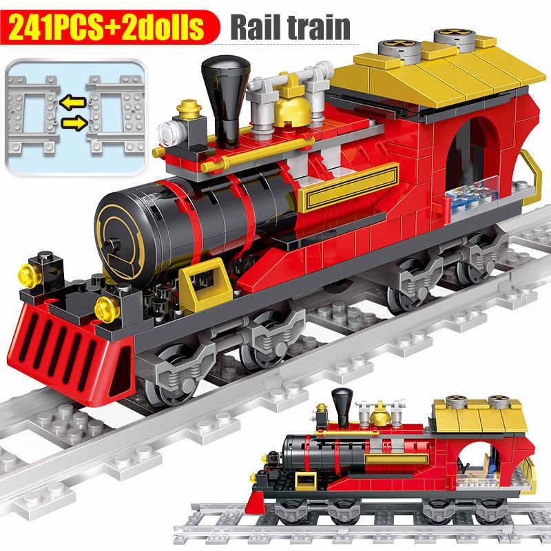 Creator City รถไฟรถไฟบล็อกอาคารสำหรับ Legoing รถไฟการขนส่ง DIY อิฐของเล่นสำหรับเด็ก