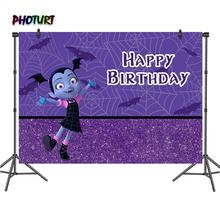 PHOTURT Full Moon Vampire Street Photography Backdrop Baby Shower Girl 1st Birthday Party Background Vinyl Photo Studios Props