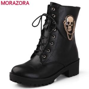 Image 1 - MORAZORA 2020 ขายร้อนข้อเท้ารองเท้าบูทสำหรับสุภาพสตรีSkull Street Lace Up Platformรองเท้าสตรีแฟชั่นสุภาพสตรีฤดูใบไม้ร่วงฤดูหนาวรองเท้ารองเท้า