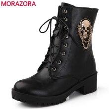 MORAZORA 2021 hot البيع حذاء من الجلد للنساء الجمجمة الشارع الدانتيل يصل منصة الأحذية النسائية موضة السيدات الخريف الشتاء الأحذية حذاء