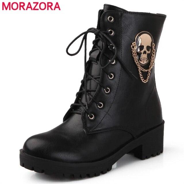 MORAZORA 2021 sıcak satış yarım çizmeler kadınlar için kafatası sokak lace up platformu kadın çizmeler moda bayanlar sonbahar kış çizmeler ayakkabı