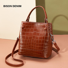 BISON DENIM Genuine Leather Women Bag Luxury Top Handle Tote Bag Female Alligator Pattern Handbag Shoulder Bag B1838(China)