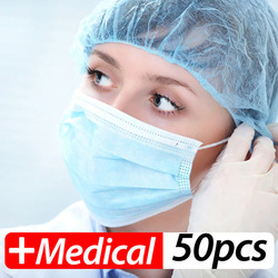 Surgical Mask 100Pcs Profession face Masks Surgical 3-Ply PM2.5 Nonwoven Disposable Elastic Mouth Soft Breathable Anti-virus COVID-19 Mask