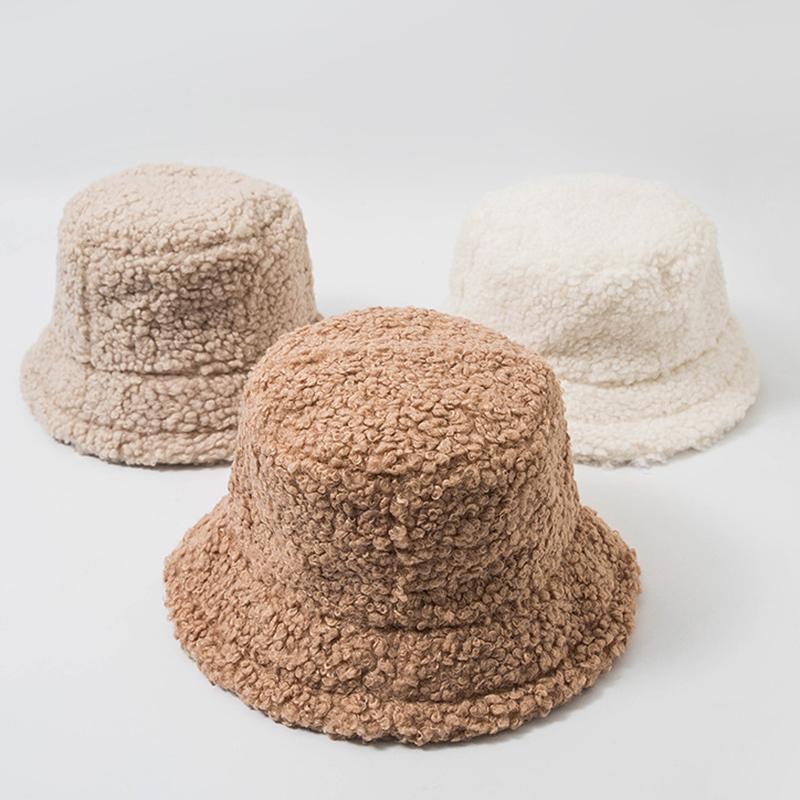 2020 New Hats for Women Autumn Winter Bucket Hats Lamb Plush Soft Warm Fisherman Hat Panama Casual Caps Lady Flat Korean Style