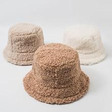2020 gorros nuevos para mujer Otoño Invierno sombreros de cubo de cordero de peluche de felpa suave cálido sombrero de pescador Panamá Casual tapas planos de señora de estilo coreano