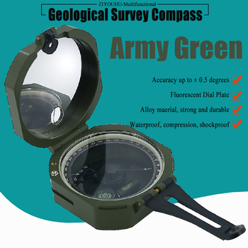 Military Multifunctional Fluorescent Geological Survey Compass Green Pocket Transit Waterproof & Anti-Shake for Outdoor Survival high precision magnetic pocket transit geological compass scale 0 360 degrees
