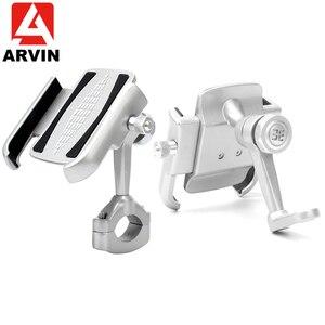 Image 1 - ARVIN アルミマウンテン自転車バイクハンドルバー電話ホルダースタンド 360 調節可能なオートバイバックミラー 4 6.5 インチ電話マウント