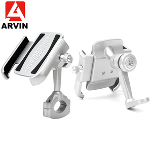 Image 1 - ARVIN Aluminum Mountain Bicycle Handlebar Phone Holder Stand 360 Adjustable Motorcycle Rearview Mirror 4 6.5 inch phone Mount